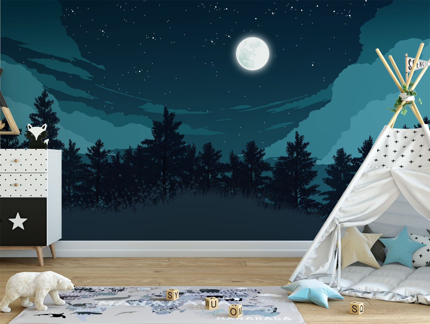 mountain-mural-nursery 10 Cute Ways to Use Removable Wallpaper for Your Kid's Bedroom