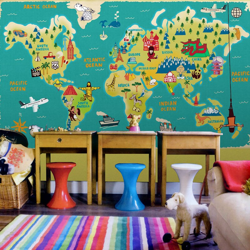 world-maps-Wallpaper 10 Cute Ways to Use Removable Wallpaper for Your Kid's Bedroom