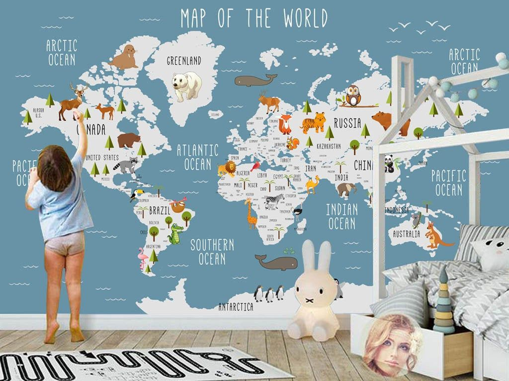 world-maps-Wallpapers 10 Cute Ways to Use Removable Wallpaper for Your Kid's Bedroom