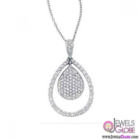 0.31-Ben-Garelick-Pear-Shaped-Diamond-14K-White-Gold-Pendant-Pave-Set Best 10 Cheapest Diamond Necklaces For Sale