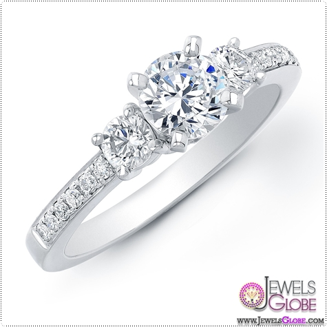 1-carat-14k-white-gold-three-stone-engagement 3 Stone White Gold Engagement Rings for Women