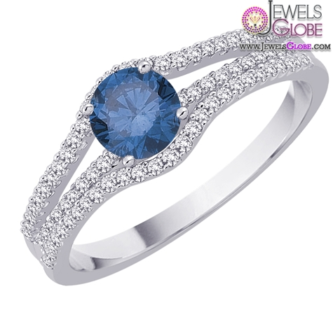 10K-White-Gold-Diamond-Engagement-Ring-with-Blue-Sapphire Top 21 Blue Sapphire Engagement Rings Designs