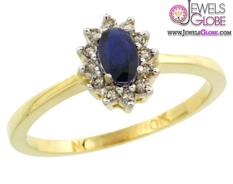 10k-Gold-Halo-Engagement-Created-Blue-Sapphire-Ring Top 21 Blue Sapphire Engagement Rings Designs