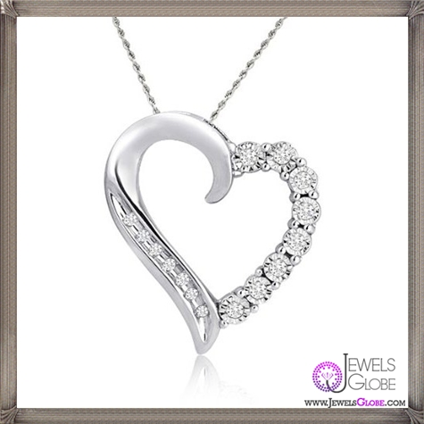10k-White-Gold-Round-Shaped-Diamond-Heart-Pendant-Necklace The 28 Best Diamond Heart Necklaces & Pendants For Women and Buying TIPS