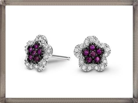 10kt-White-Gold-Ruby-Diamond-Earrings Latest Signature Diamond Earrings For Women