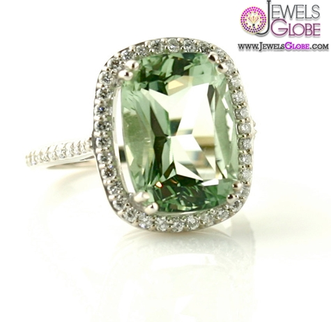 14K-Light-Green-Amethyst-Ring-Diamond The Most Stylish Gemstone Engagement Rings