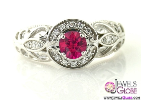 14K-Vintage-Ruby-Ring-Diamond-Halo-Ruby-Engagement-Ring-Custom-Art-Nouveau 15 Hottest Designed Ruby Engagement Rings For Women