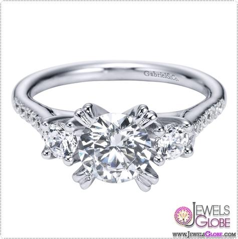 14K-White-Gold-3-Stone-Engagement-Ring 3 Stone White Gold Engagement Rings for Women