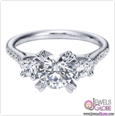 14K-White-Gold-3-Stone-Engagement-Ring 3 Stone White Gold Engagement Rings for Women