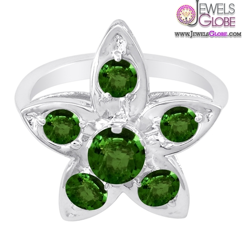 14K-White-Gold-Emerald-Flower-Design-Gemstone-Engagement-Ring The Most Stylish Gemstone Engagement Rings