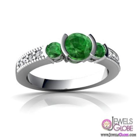 14K-White-Gold-Round-Genuine-emerald-cut-three-stone-engagement-ring Top Designed 3 Stone Signature Emerald Cut Rings