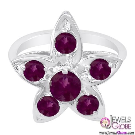 14K-White-Gold-Ruby-Flower-Design-Ring 15 Hottest Designed Ruby Engagement Rings For Women