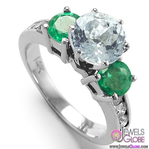 14k-Gold-Aquamarine-diamond-Emerald-Ring A Quick Way to Get Cheap Emerald Rings For Sale