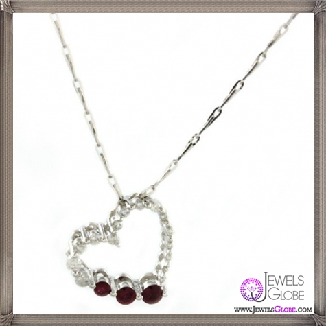 14k-White-Gold-Ruby-Diamond-Heart-Necklace The 28 Best Diamond Heart Necklaces & Pendants For Women and Buying TIPS