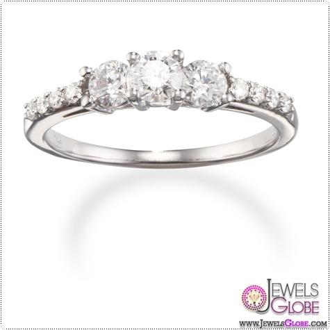14k-White-Gold-Three-Stone-Diamond-Trilogy-Engagement-Ring 3 Stone White Gold Engagement Rings for Women