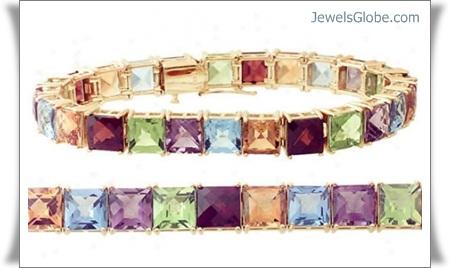 14k-gold-square-gemstone-bracelet 18 Best Gold Gemstone Bracelets Designs