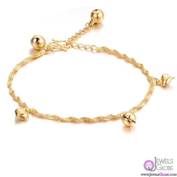 18K-GOLD-Ladies-Link-Chain-Bracelets-bell-heart-charms 18 Hot Gold Link Bracelets Designs