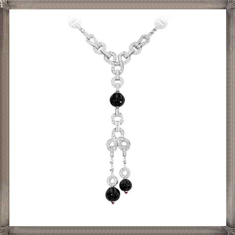 18K-white-gold-necklace-set-with-diamonds-rubellites-onyx The 13 Most Stylish White Gold Necklaces For Women and Choice TIPS