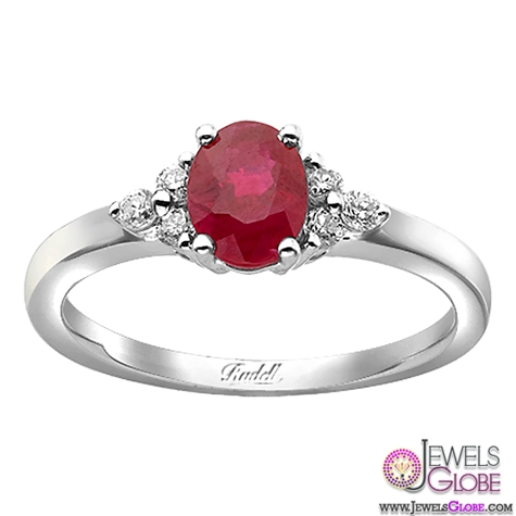 18ct-White-Gold-Oval-Ruby-and-Diamond-Cluster-Engagement-Ring 15 Hottest Designed Ruby Engagement Rings For Women