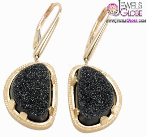 18k-Sanded-Gold-Earrings-Milgrain-Bezel-with-Prongs-encasing-Free-Form-Black Latest Fashion Black Diamond Earrings For Women