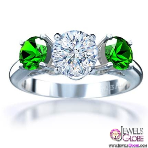 18k-White-Gold-3-Stone-Round-Emerald-Engagement-Ring A Quick Way to Get Cheap Emerald Rings For Sale