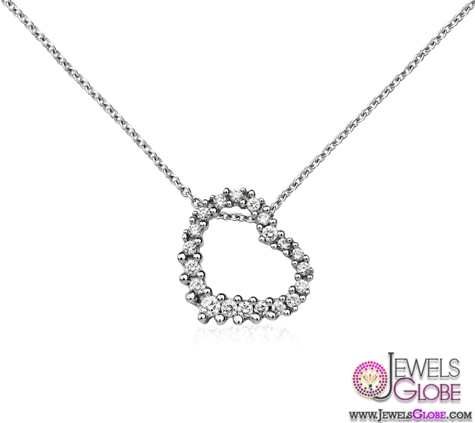 18k-White-Gold-Diamond-Curved-Heart-Necklace Best 10 Cheapest Diamond Necklaces For Sale
