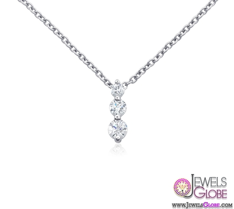18k-White-Gold-Three-Stone-Drop-Diamond-Necklace Best 10 Cheapest Diamond Necklaces For Sale