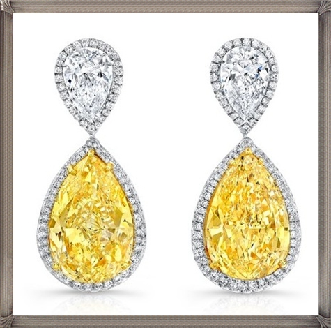 18k-white-gold-white-and-yellow-diamond-pear-shaped-earrings-from-Norman Latest Gold Earrings Designs 2019