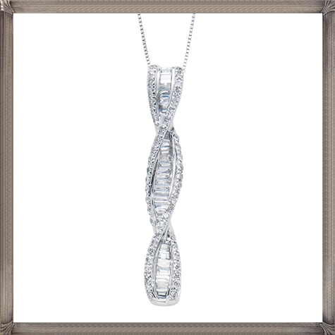 1ctw-White-Gold-Round-Baguette-Twist-Pendant The 13 Most Stylish White Gold Necklaces For Women and Choice TIPS