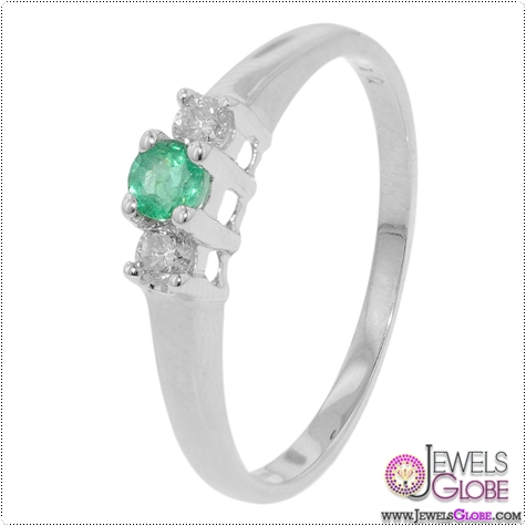3-Stone-White-Gold-Diamond-Emerald-Ring 3 Stone White Gold Engagement Rings for Women