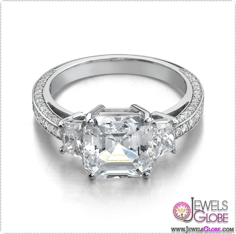 3-Stone-white-gold-diamond-emerald-cut-Engagement-Rings 3 Stone White Gold Engagement Rings for Women