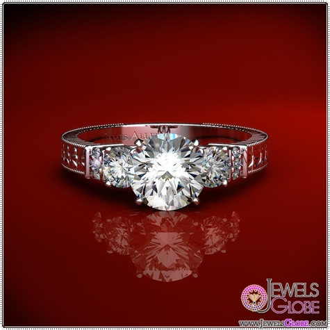 3-side-stone-rings-have-engraved-bands 3 Stone White Gold Engagement Rings for Women