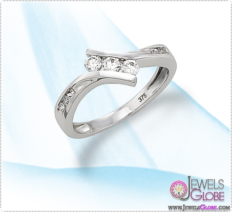 9ct-White-Gold-3-stone-CZ-Dress-Ring 3 Stone White Gold Engagement Rings for Women