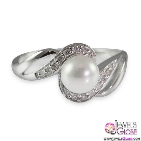 9ct-White-Gold-Diamond-and-Cultured-Pearl-Ring Top Pearl Rings For Sale