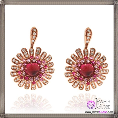 A-pair-of-18k-rose-gold-Roberto-Coin-flower-drop-earrings Best 18 Roberto Coin Earrings Designs