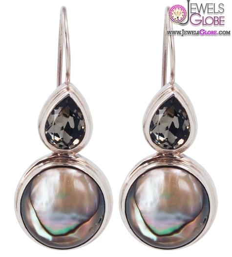 Abalone-and-Swarovski-Black-Diamond-Earrings Latest Fashion Black Diamond Earrings For Women
