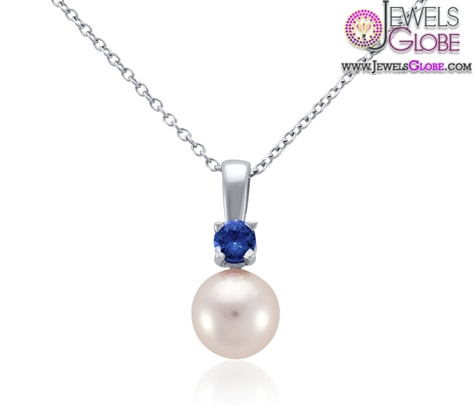 Akoya-Cultured-Pearl-and-Sapphire-Pendant-in-18k-White-Gold-necklace Top 20 Pearl Gold Necklace Designs