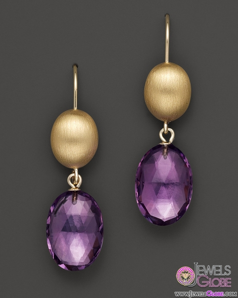 Amethyst-Drop-Earrings-Set-in-14K-Yellow-Gold The 43 Hottest Gemstone Drop And Stud Earrings Designs for Women