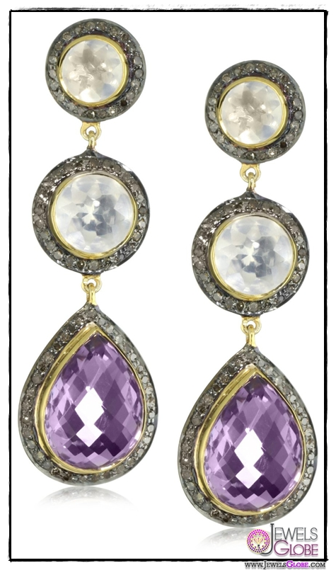 Amrapali-14k-Gold-and-Sterling-Silver-Amethyst-Ice-Quartz-and-Diamond-Drop-Earrings Top 14 Most Amazing And Stylish Amrapali Jewelry Collection Of All Time