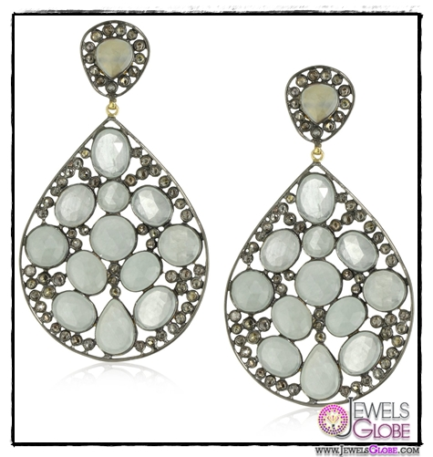 Amrapali-14k-Gold-and-Sterling-Silver-Aquamarine-and-Diamond-Earrings Top 14 Most Amazing And Stylish Amrapali Jewelry Collection Of All Time
