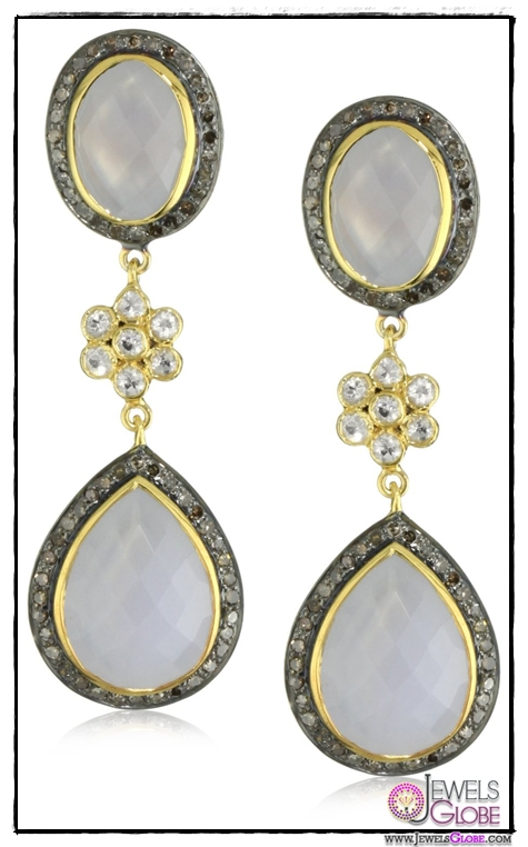 Amrapali-14k-Gold-and-Sterling-Silver-Blue-Chalcedony-and-Diamond-Drop-Earrings Top 14 Most Amazing And Stylish Amrapali Jewelry Collection Of All Time