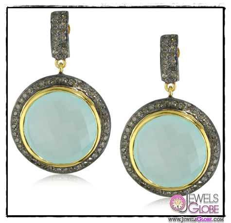 Amrapali-14k-Gold-and-Sterling-Silver-Blue-Chalcedony-and-Diamond-Earrings Top 14 Most Amazing And Stylish Amrapali Jewelry Collection Of All Time