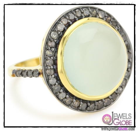 Amrapali-14k-Gold-and-Sterling-Silver-Cabochon-Chalcedony-and-Diamond-Ring Top 14 Most Amazing And Stylish Amrapali Jewelry Collection Of All Time