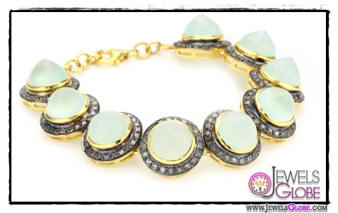Amrapali-14k-Gold-and-Sterling-Silver-Chalcedony-Cabochon-and-Diamond-Bracelet Top 14 Most Amazing And Stylish Amrapali Jewelry Collection Of All Time