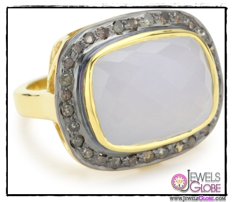 Amrapali-14k-Gold-and-Sterling-Silver-Faceted-Chalcedony-and-Diamond-Ring Top 14 Most Amazing And Stylish Amrapali Jewelry Collection Of All Time