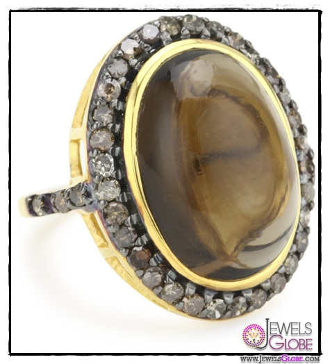 Amrapali-14k-Gold-and-Sterling-Silver-Smokey-Quartz-Cabochon-and-Diamond-Ring Top 14 Most Amazing And Stylish Amrapali Jewelry Collection Of All Time