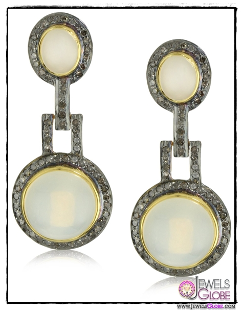 Amrapali-14k-Gold-and-Sterling-Silver-White-Moonstone-and-Diamond-Earrings Top 14 Most Amazing And Stylish Amrapali Jewelry Collection Of All Time