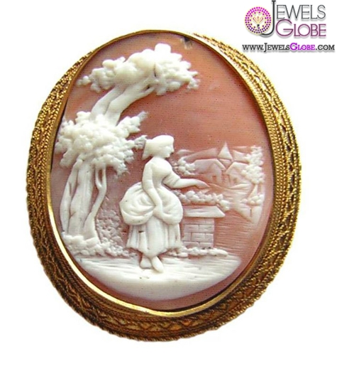 Antique-14K-Gold-Shell-Cameo-Brooch 20 Women Cameo Brooches You'll Only See Here!