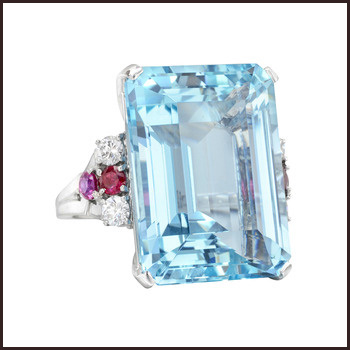 Aquamarine-Cocktail-Ring-with-Ruby-and-Diamond Top Ranked Aquamarine Cocktail Rings