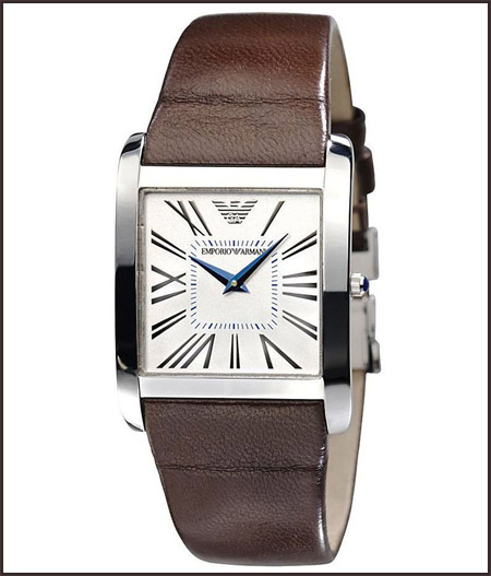 Armani-Women-Brown-Leather-Strap-White-Dial-Quartz-Watch Best 7 Armani Ladies Watches Designs